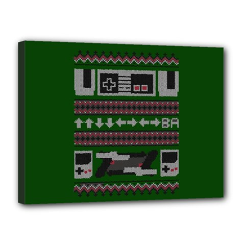 Old School Ugly Holiday Christmas Green Background Canvas 16  X 12
