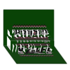 Old School Ugly Holiday Christmas Green Background You Are Invited 3d Greeting Card (7x5)