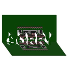 Old School Ugly Holiday Christmas Green Background SORRY 3D Greeting Card (8x4)