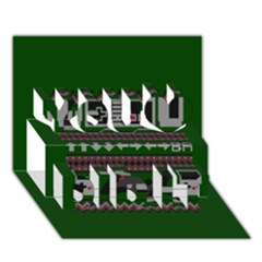 Old School Ugly Holiday Christmas Green Background You Did It 3D Greeting Card (7x5)