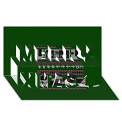 Old School Ugly Holiday Christmas Green Background Merry Xmas 3d Greeting Card (8x4)
