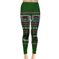 Old School Ugly Holiday Christmas Green Background Leggings