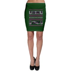 Old School Ugly Holiday Christmas Green Background Bodycon Skirt
