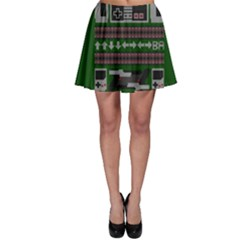 Old School Ugly Holiday Christmas Green Background Skater Skirt