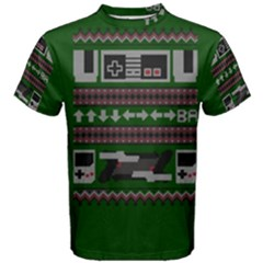 Old School Ugly Holiday Christmas Green Background Men s Cotton Tee