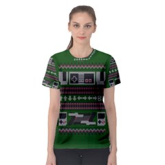 Old School Ugly Holiday Christmas Green Background Women s Sport Mesh Tee