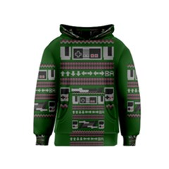 Old School Ugly Holiday Christmas Green Background Kids  Pullover Hoodie