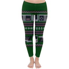 Old School Ugly Holiday Christmas Green Background Classic Winter Leggings