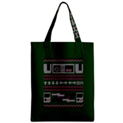 Old School Ugly Holiday Christmas Green Background Zipper Classic Tote Bag