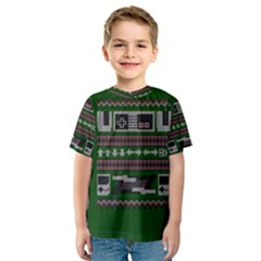 Old School Ugly Holiday Christmas Green Background Kids  Sport Mesh Tee