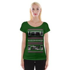 Old School Ugly Holiday Christmas Green Background Women s Cap Sleeve Top