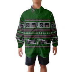Old School Ugly Holiday Christmas Green Background Wind Breaker (kids)