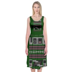 Old School Ugly Holiday Christmas Green Background Midi Sleeveless Dress