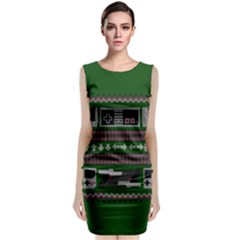 Old School Ugly Holiday Christmas Green Background Classic Sleeveless Midi Dress