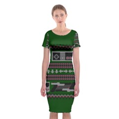 Old School Ugly Holiday Christmas Green Background Classic Short Sleeve Midi Dress
