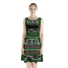 Old School Ugly Holiday Christmas Green Background Sleeveless Chiffon Waist Tie Dress