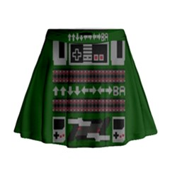 Old School Ugly Holiday Christmas Green Background Mini Flare Skirt