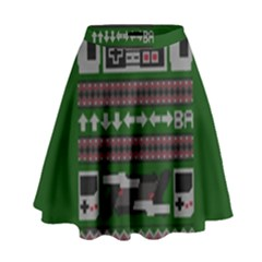 Old School Ugly Holiday Christmas Green Background High Waist Skirt