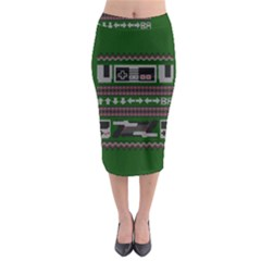 Old School Ugly Holiday Christmas Green Background Midi Pencil Skirt