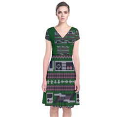 Old School Ugly Holiday Christmas Green Background Short Sleeve Front Wrap Dress