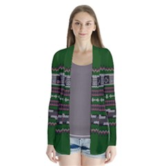 Old School Ugly Holiday Christmas Green Background Drape Collar Cardigan