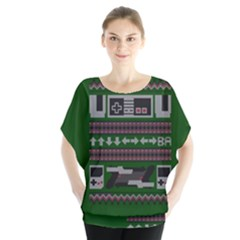 Old School Ugly Holiday Christmas Green Background Blouse