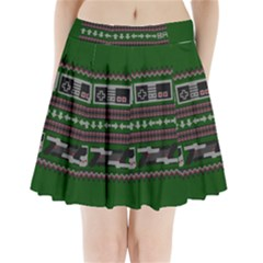 Old School Ugly Holiday Christmas Green Background Pleated Mini Skirt