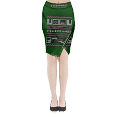 Old School Ugly Holiday Christmas Green Background Midi Wrap Pencil Skirt