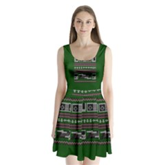 Old School Ugly Holiday Christmas Green Background Split Back Mini Dress