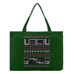 Old School Ugly Holiday Christmas Green Background Medium Tote Bag