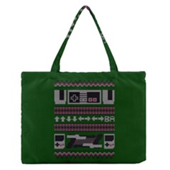 Old School Ugly Holiday Christmas Green Background Medium Zipper Tote Bag