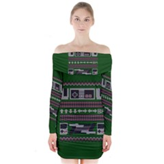 Old School Ugly Holiday Christmas Green Background Long Sleeve Off Shoulder Dress