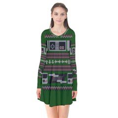 Old School Ugly Holiday Christmas Green Background Flare Dress