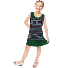 Old School Ugly Holiday Christmas Green Background Kids  Tunic Dress