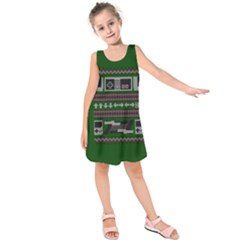 Old School Ugly Holiday Christmas Green Background Kids  Sleeveless Dress