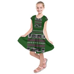 Old School Ugly Holiday Christmas Green Background Kids  Short Sleeve Dress