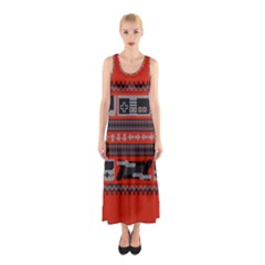 Old School Ugly Holiday Christmas Red Background Sleeveless Maxi Dress