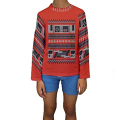 Old School Ugly Holiday Christmas Red Background Kids  Long Sleeve Swimwear