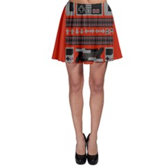 Old School Ugly Holiday Christmas Red Background Skater Skirt