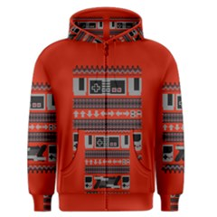Old School Ugly Holiday Christmas Red Background Men s Zipper Hoodie