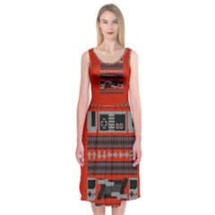 Old School Ugly Holiday Christmas Red Background Midi Sleeveless Dress