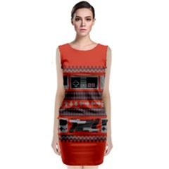 Old School Ugly Holiday Christmas Red Background Classic Sleeveless Midi Dress