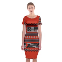 Old School Ugly Holiday Christmas Red Background Classic Short Sleeve Midi Dress