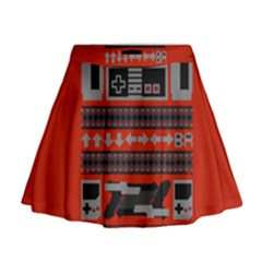 Old School Ugly Holiday Christmas Red Background Mini Flare Skirt