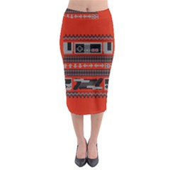 Old School Ugly Holiday Christmas Red Background Midi Pencil Skirt