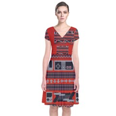 Old School Ugly Holiday Christmas Red Background Short Sleeve Front Wrap Dress