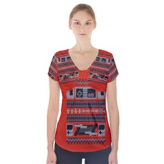 Old School Ugly Holiday Christmas Red Background Short Sleeve Front Detail Top