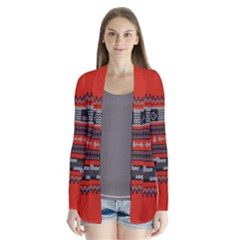 Old School Ugly Holiday Christmas Red Background Drape Collar Cardigan