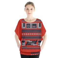 Old School Ugly Holiday Christmas Red Background Blouse