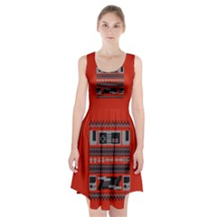 Old School Ugly Holiday Christmas Red Background Racerback Midi Dress